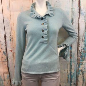 TORY BURCH Ruffle Bell Sleeve Powder Blue Sweater